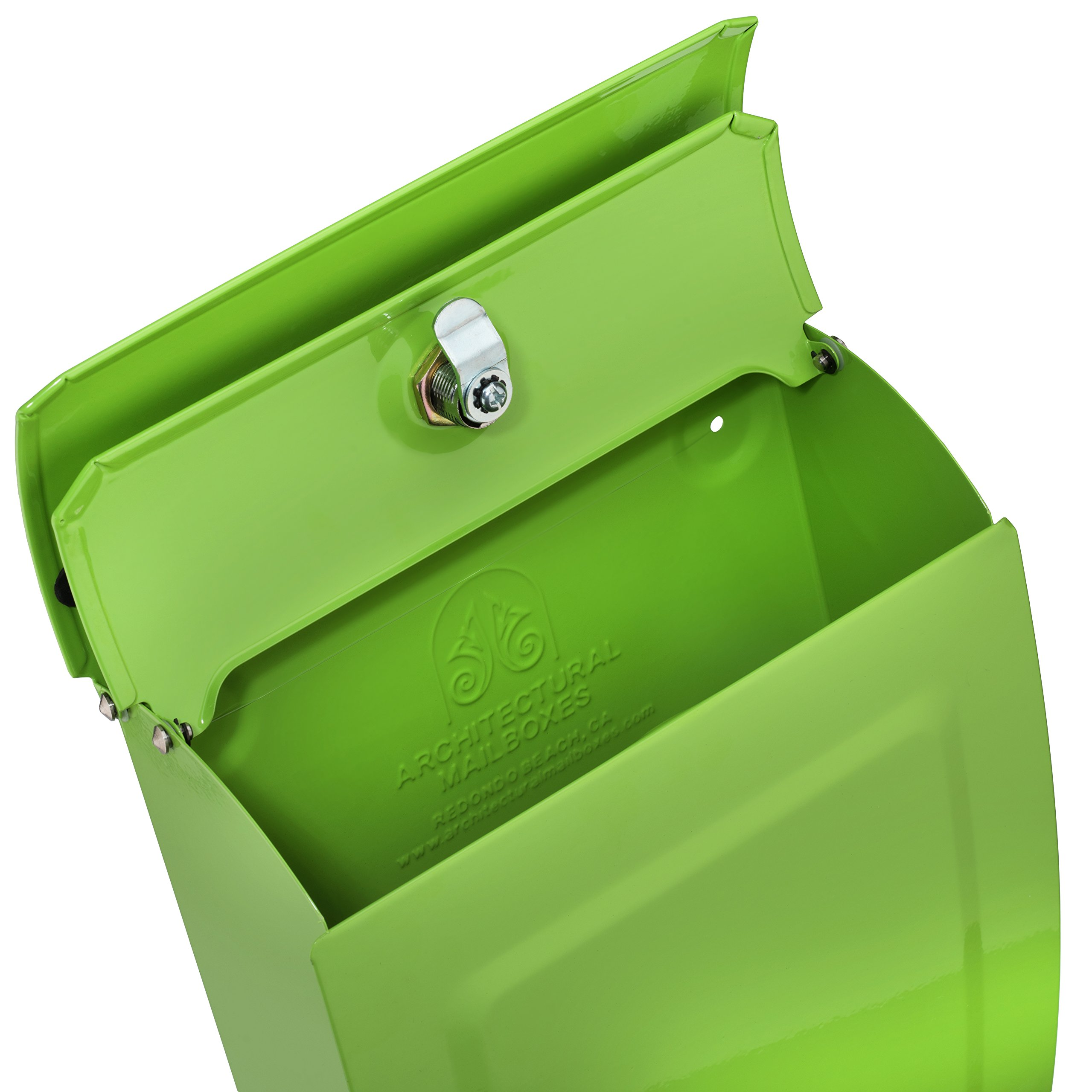 ARCHITECTURAL MAILBOXES 2594LG Architectural Mailboxes Aspen Locking Wall Mount Mailbox Lime Green Aspen Locking Wall Mount Mailbox, Small, Lime Green by ARCHITECTURAL MAILBOXES (Image #4)