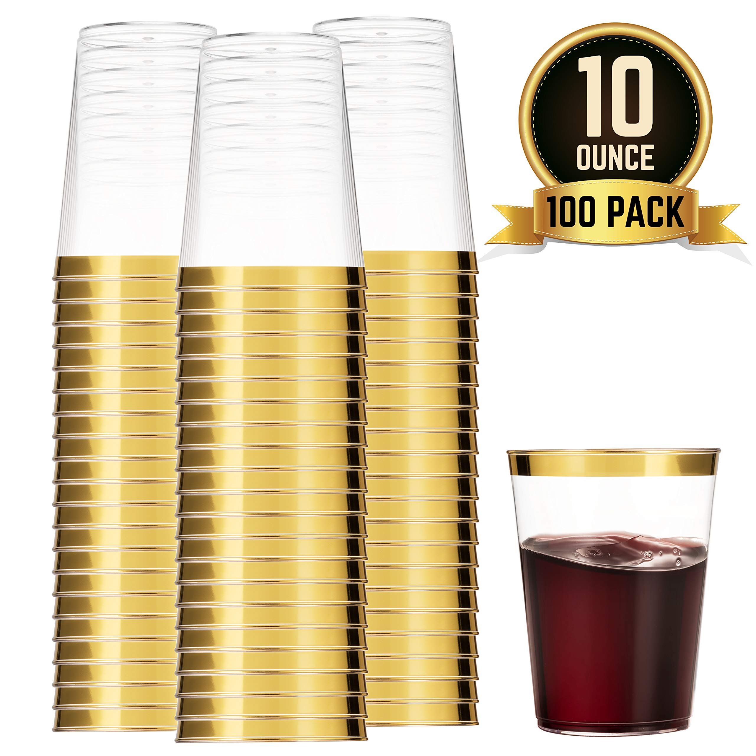 100 Gold Plastic Cups 10 Oz Clear Plastic Cups Tumblers Gold Rimmed Cups Fancy Disposable Wedding Cups Elegant Party Cups with Gold Rim