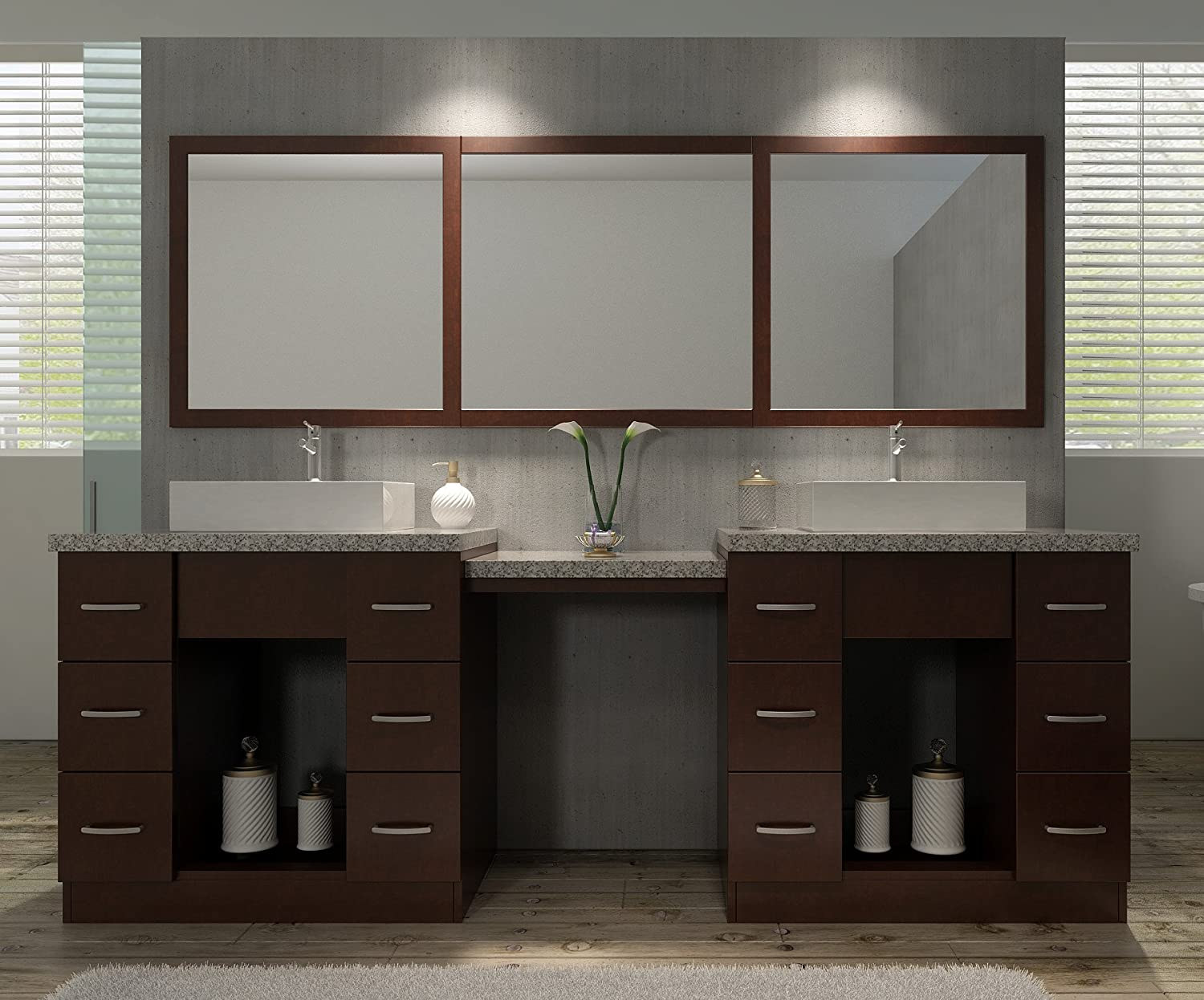 double vanity with makeup counter. ariel j097d wlnt roosevelt 97 double sink set in vanity with makeup counter e