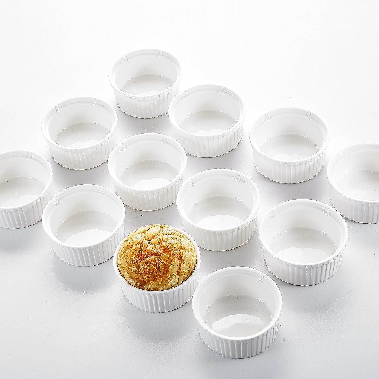 Malacasa, Series Ramekin, 12-Piece 3.5 (9cm) Ramekins Ivory White Porcelain China Ceramic Cream White Dishes(Set of 12)