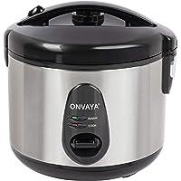 ONVAYA® Rijstkoker, 1,2 liter, van roestvrij staal, inclusief stoompan, dubbele deksel, warmhoudfunctie, anti-aanbaklaag…