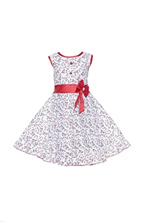5c60a8f92 YAYAVAR Girls Cotton Made Floral Printed White   Red Colored Casual Frock  for Girls - Set