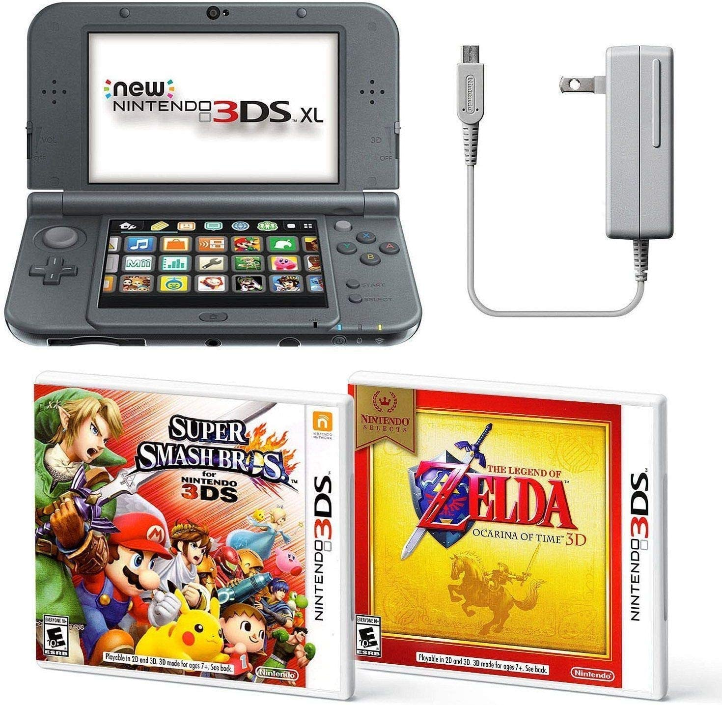 Black Nintendo 3DS XL Bundle Nintendo, AC Adapter, and Two Full Games 3D Mode Ages 7 Years