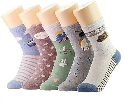 CityComfort Calcetines Mujer Invierno - Pack De 5 Calcetines De Algodón Suave Cómodo Para Niña Y Mujer Adulto Unisex Talla 36-40 (Multicolor Animales): Amazon.es: Ropa y accesorios
