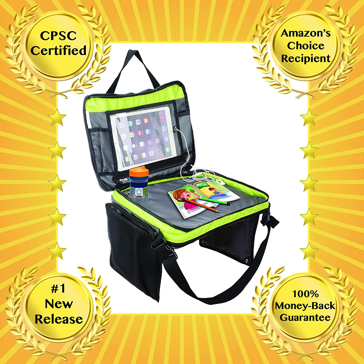Zip Away Travel Tray Car Seat For Kids With Cup And Electronic Kits Tablet Holder