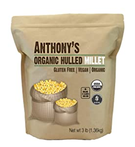 Anthony's Organic Hulled Millet, 3 lb, Gluten Free, Raw & Grown in USA