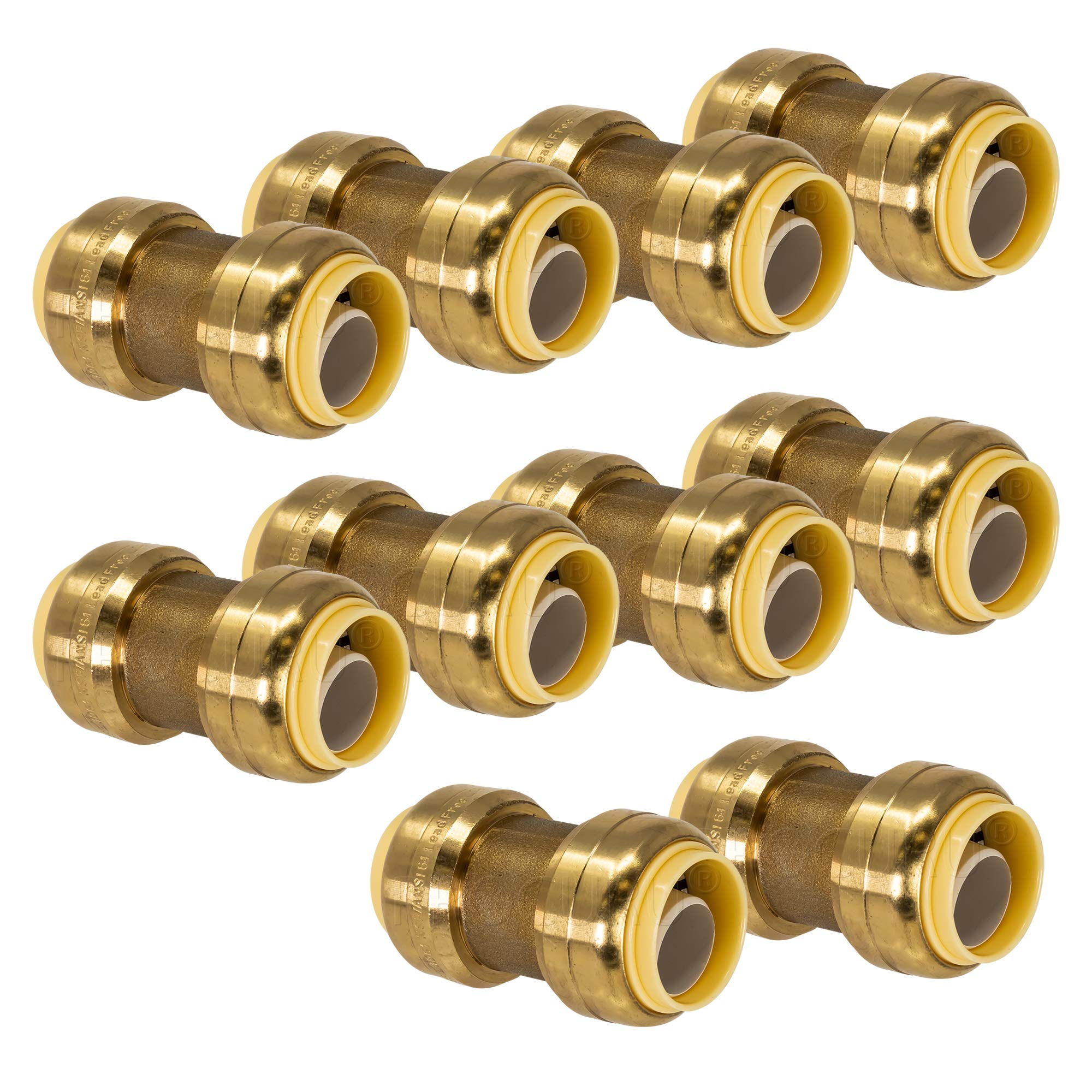 PROCURU 1/2-Inch PushFit Coupling - Push-to-Connect Plumbing Fitting for Copper, PEX, CPVC, Lead Free Certified (0.5 Inch (1/2''), 10-Pack) by PROCURU