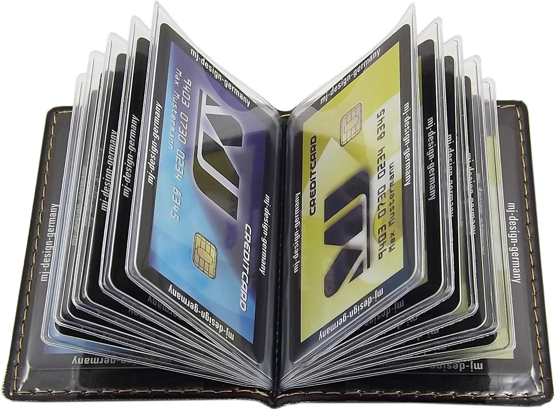 D/ésign 2 // Noir Porte de Cartes de cr/édit 12 Compartiments MJ-Design-Germany Made in UE en diff/érentes Couleurs et Designs