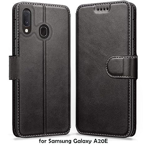 ykooe Funda Samsung Galaxy A20e, Funda Libro de Cuero Magnética Carcasa para Samsung Galaxy A20e (Negro)