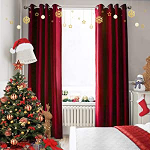 Melodieux 100% Blackout Velvet Curtains for Bedroom Living Room - Thermal Insulated Drapes with Black Liner, 52 by 96 Inch, Red (2 Panels)