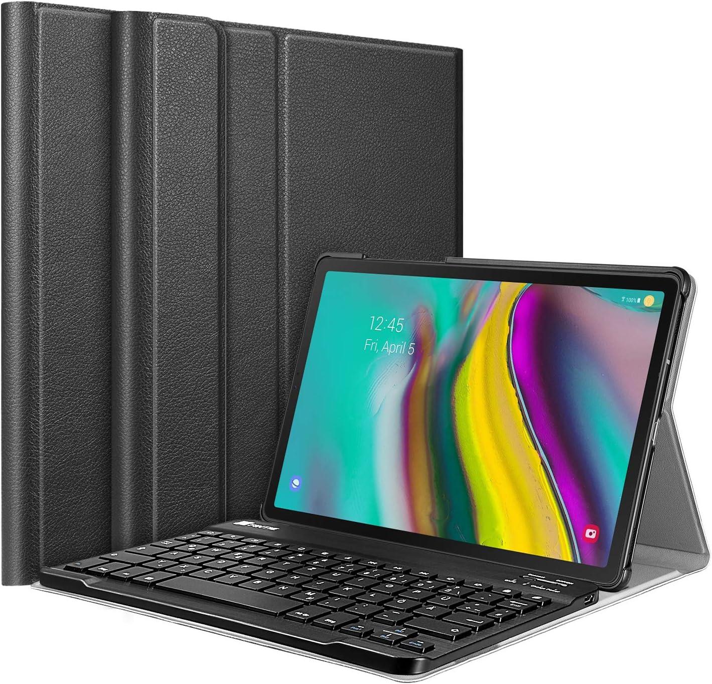 FINTIE Funda protectora ultradelgado y ligero con teclado y teclado inalámbrico alemán desmontable magnético para Samsung Galaxy Tab S5e 10.5 SM-T720 / T725 2019 Tablet PC Negro