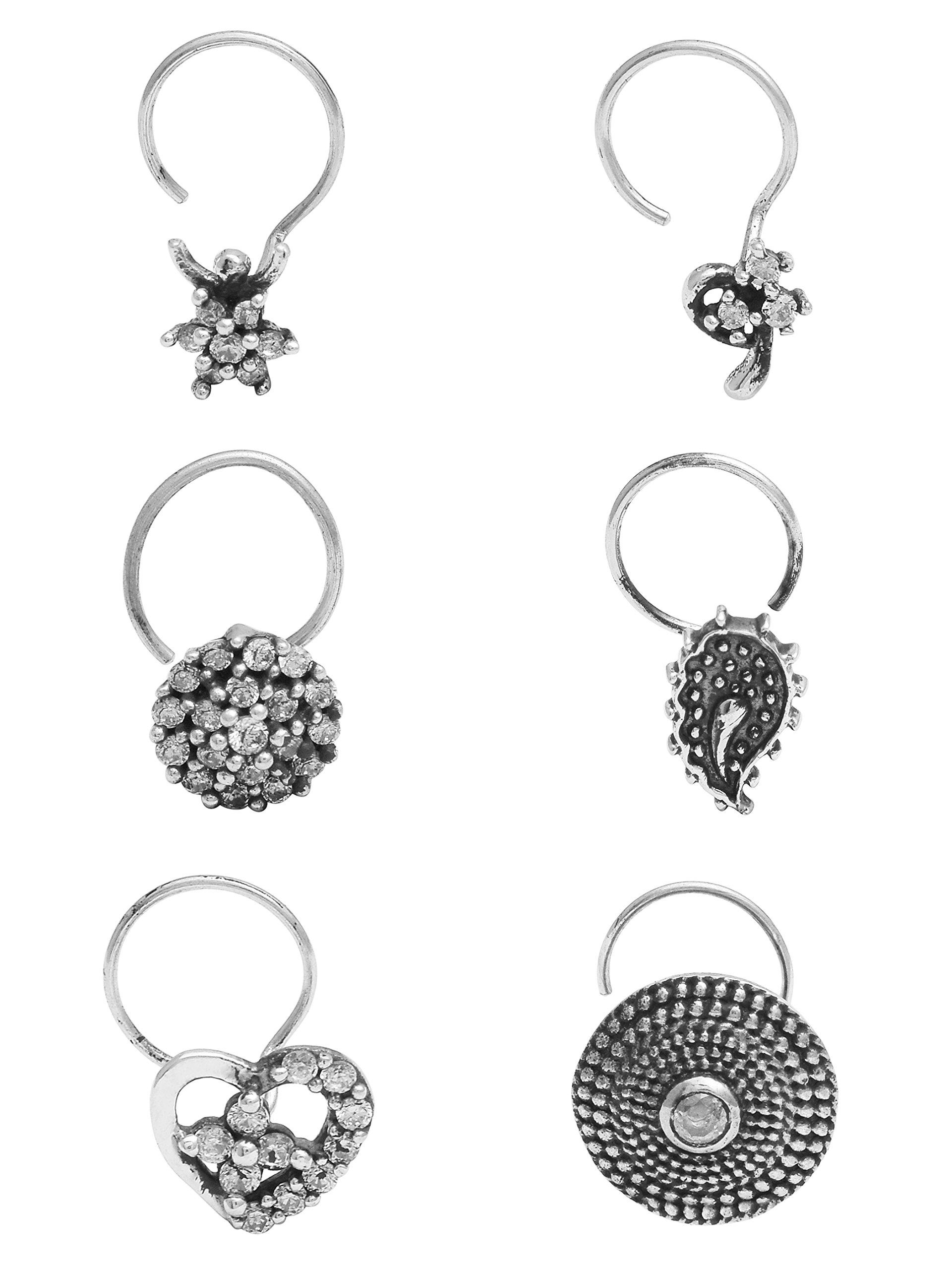Shine Jewel Bohemian Tribal Oxidized 925 Sterling Silver Nose Pin Cubic Zicronia Set of 8 pcs