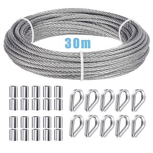 Ruesious Juego de suspensión de cable de acero inoxidable, cable de nylon 304 recubierto de alto rendimiento, collarines de acero inoxidable M2 304, con enchufes de engarce de aluminio: Amazon.es: Industria, empresas