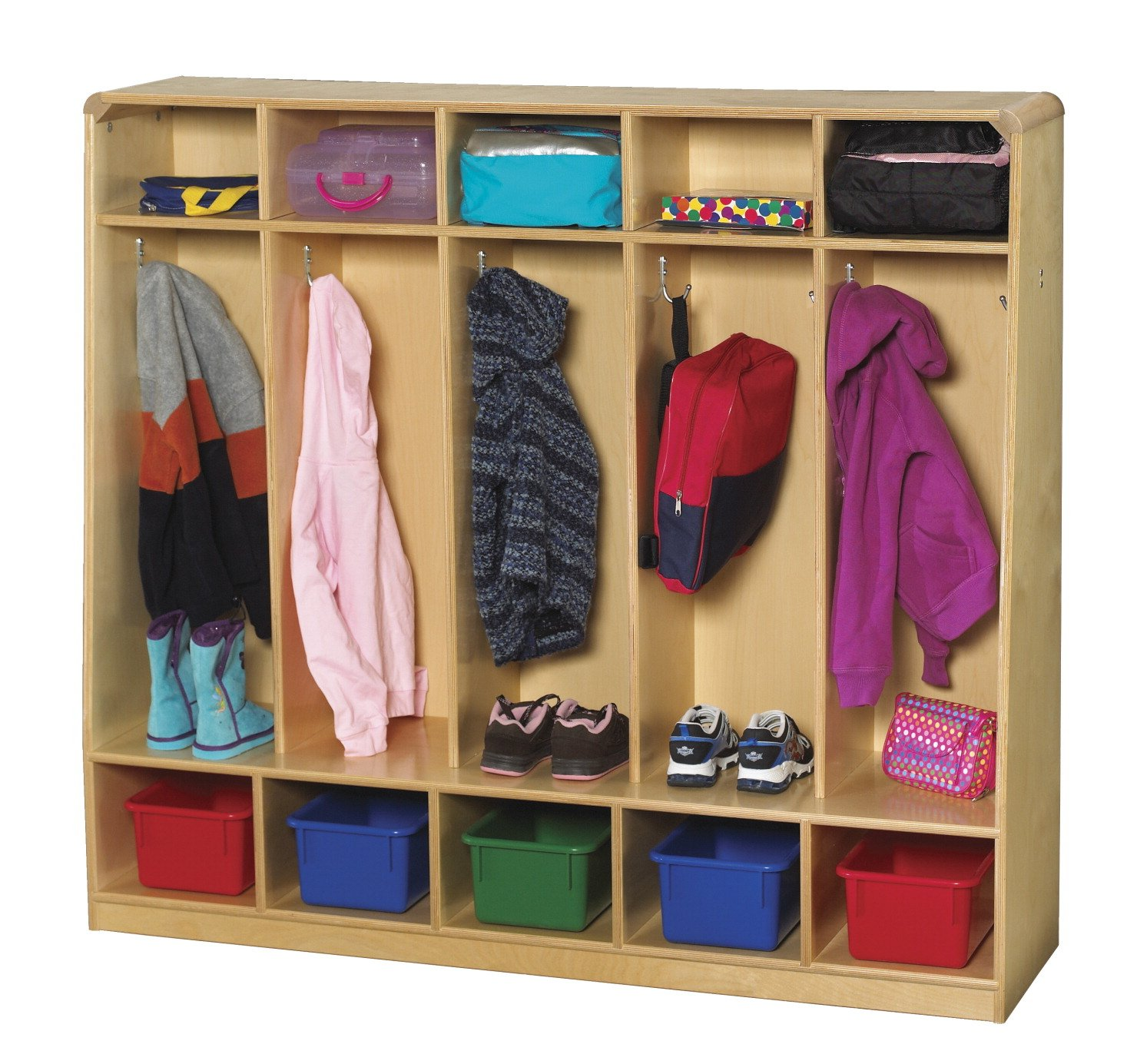 Childcraft Korners for Kids Bench Coat Locker, 5 Compartments, 13-3/4 x 53-3/4 x 48 Inches