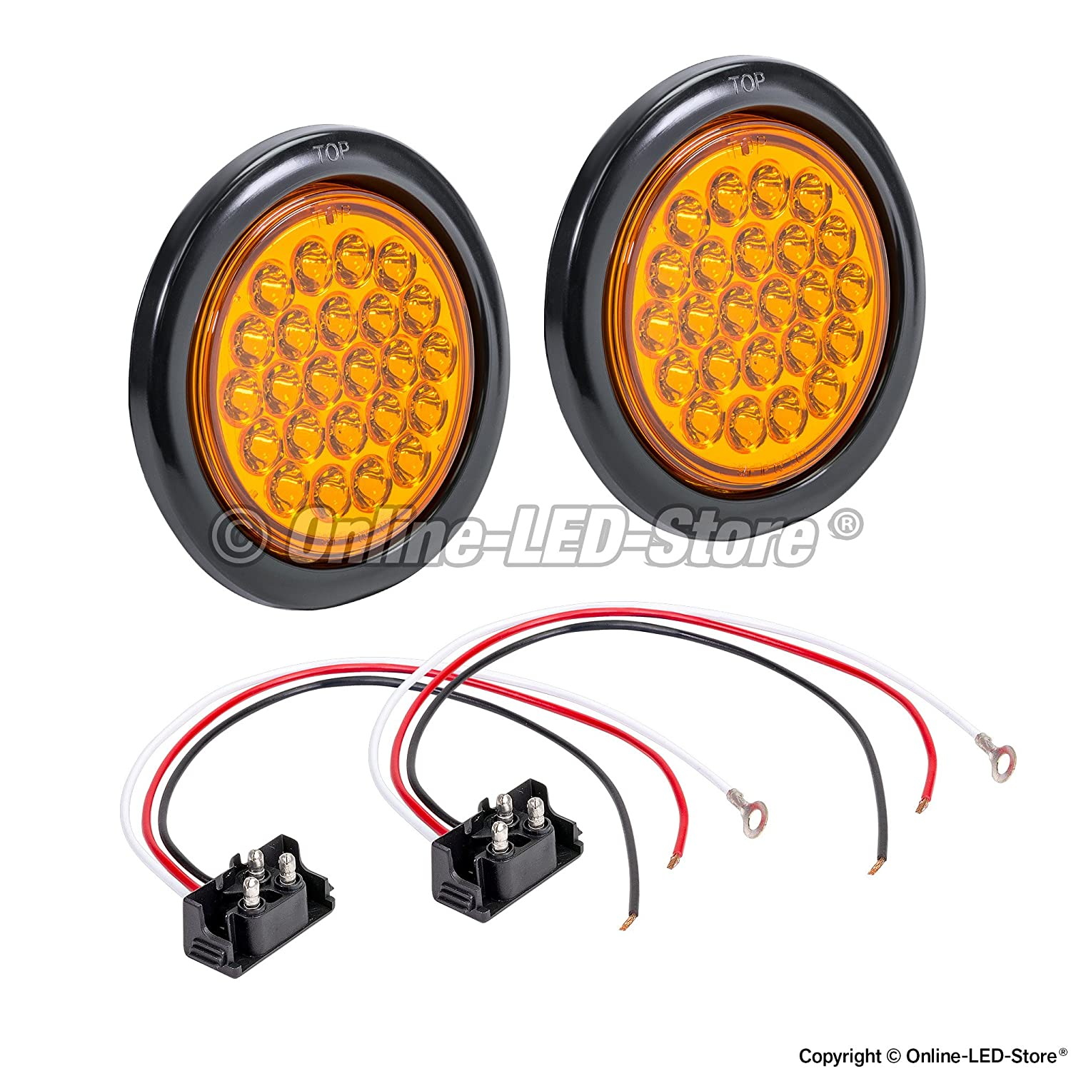 Reverse Back Up Trailer Lights for RV Trucks Jeep ONLINE LED STORE 2pc 4 Round White 24 LED Trailer Tail Lights IP67 Waterproof DOT Certified Grommet /& Plug Included