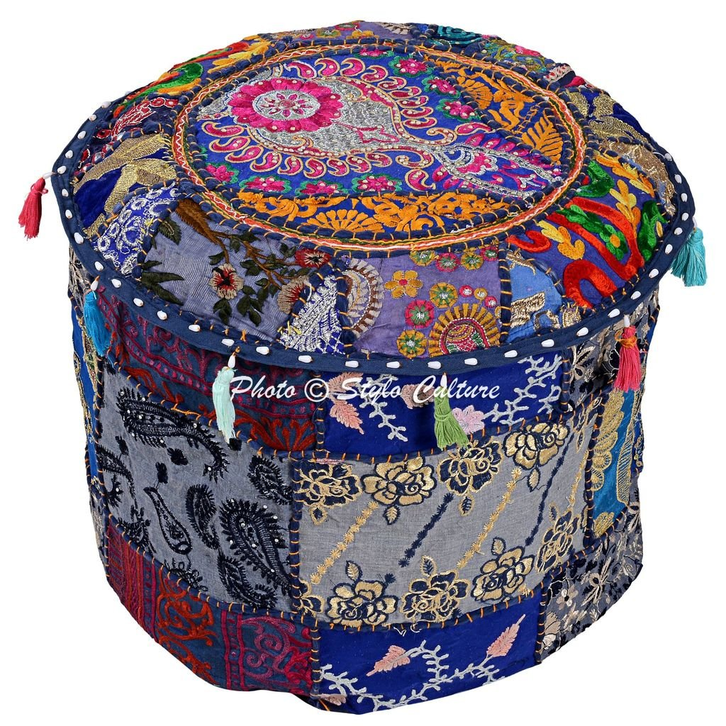 Stylo Culture Cotton Indian Ethnic Floral Patchwork Embroidered Round Ottoman Pouf Cover Blue Foot Stool Furniture 45 cm Footstool Floor Cushion Cover Home Decor