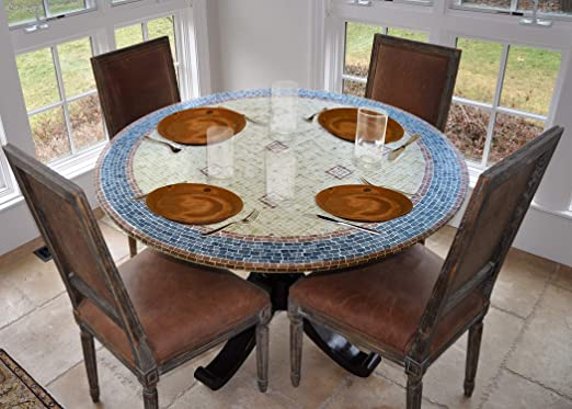 Amazon Com Laminet Elite Elastic Edged Print Table Pad Mosaic Blue Small Round Fits Tables Up To 44 Diameter The Ultimate Protection For Your Table Kitchen Dining