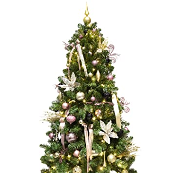 KI Store Artificial Christmas Tree with Decoration Ornaments Rose Gold and  Champagne Christmas Theme Decorations Including - Amazon.com: KI Store Artificial Christmas Tree With Decoration