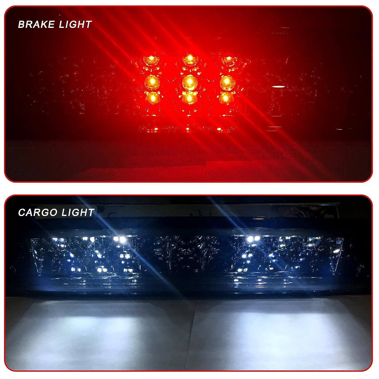 121907-5210-1737061 Black cciyu High Mount Stop Lights Replacement fit for 2009-2017 Dodge Ram 1500 2010-2017 Dodge Ram 2500 3500 LED 3rd Brake Light Stop Cargo Lamp