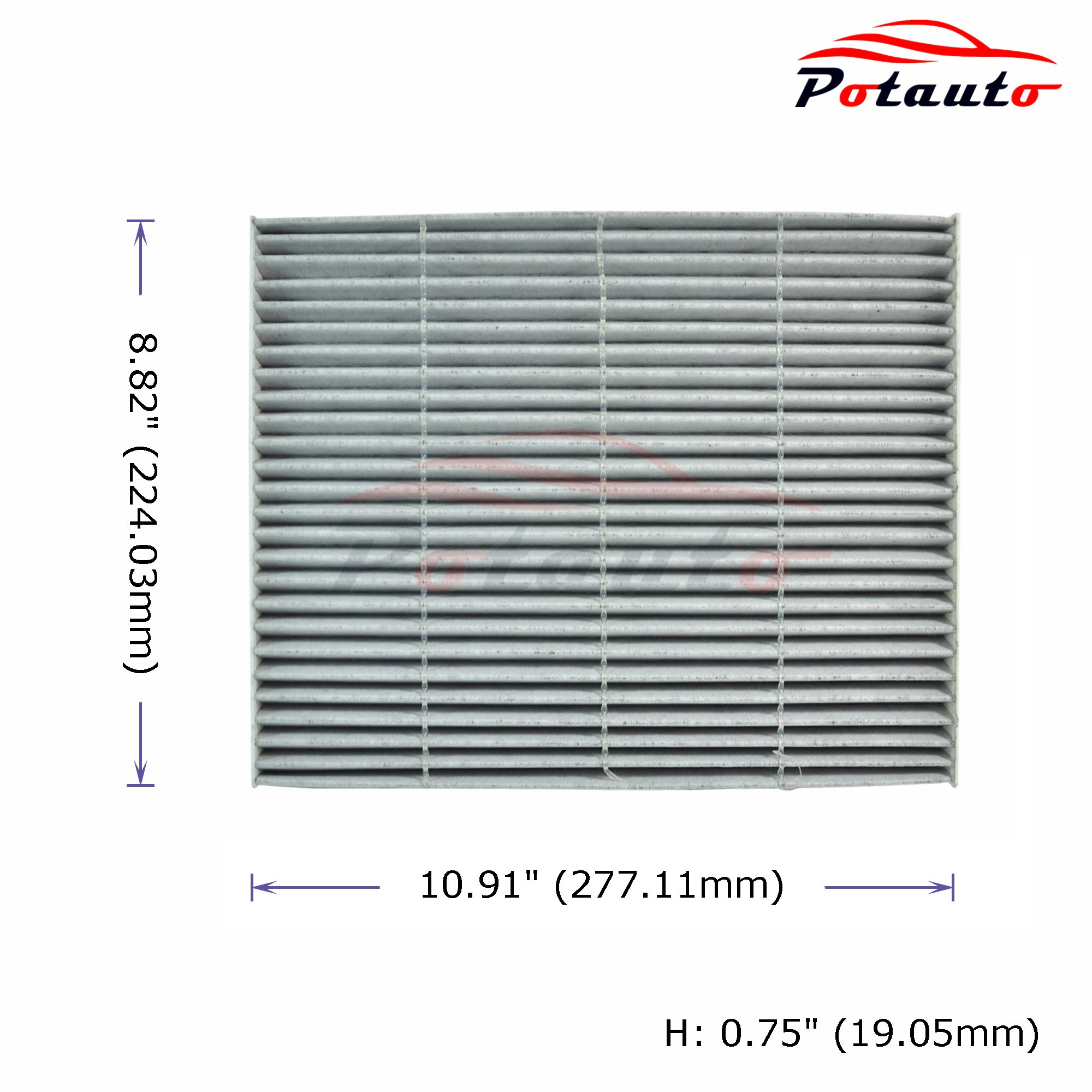 Potauto Map C Heavy Activated Carbon Car Cabin Air Filter Replacement Compatible With Ford Edge Fusion Lincoln Mkx Mkz Map C Air