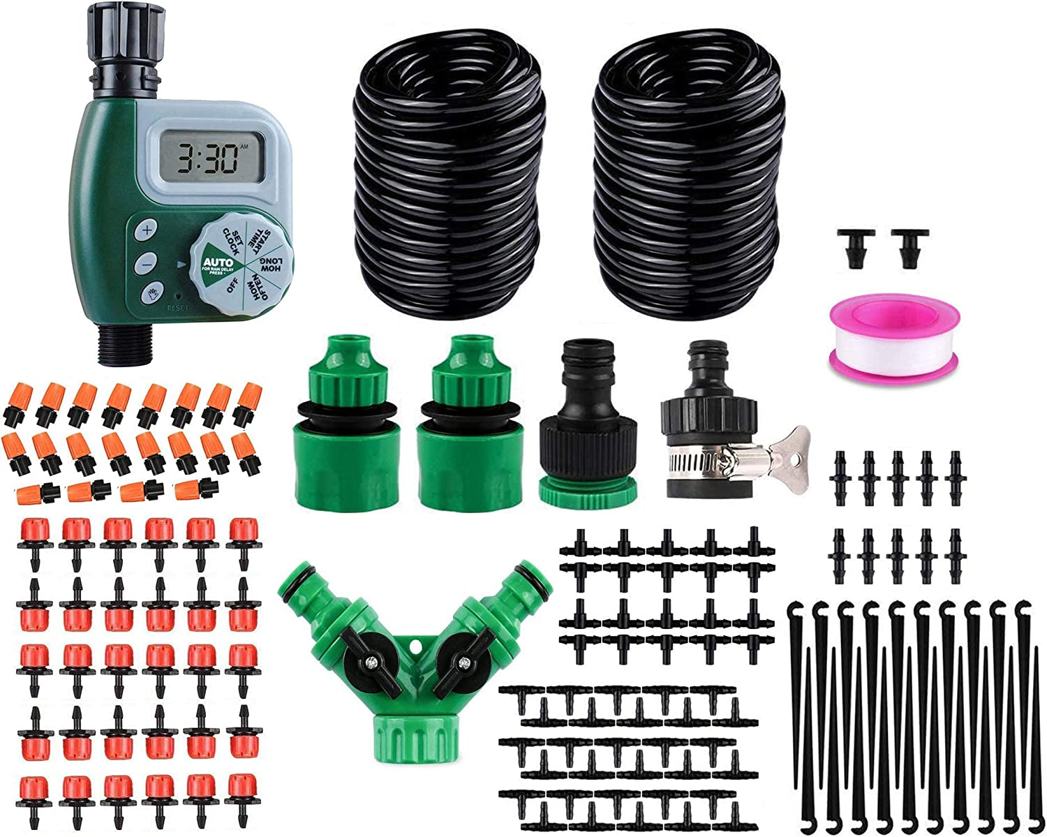 "100ft/30M Drip Irrigation Kit with Hose Watering Timer 151PCS DIY Automatic Garden Irrigation System for Garden,Greenhouse 1/4"" Tubing Hose Adjustable Nozzles Micro Drip Set (No Battery)"