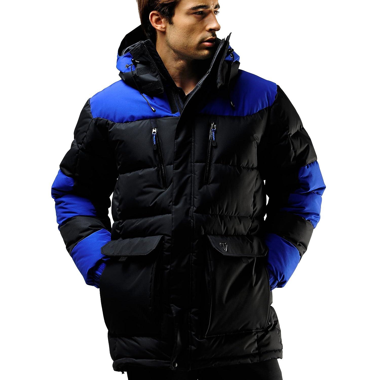 9add1fd13c59 Fuerza Mens Winter Down Wellon Hooded Parka Jacket - Black Blue - Medium  well-