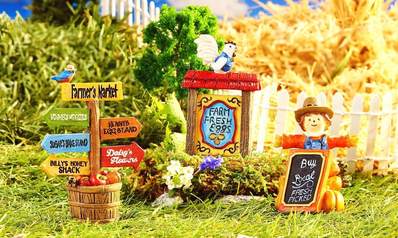 New Miniature Mini Dollhouse FAIRY GARDEN Accessories - Farmer's Market Signs - Set of 3 - Supplies Acce.