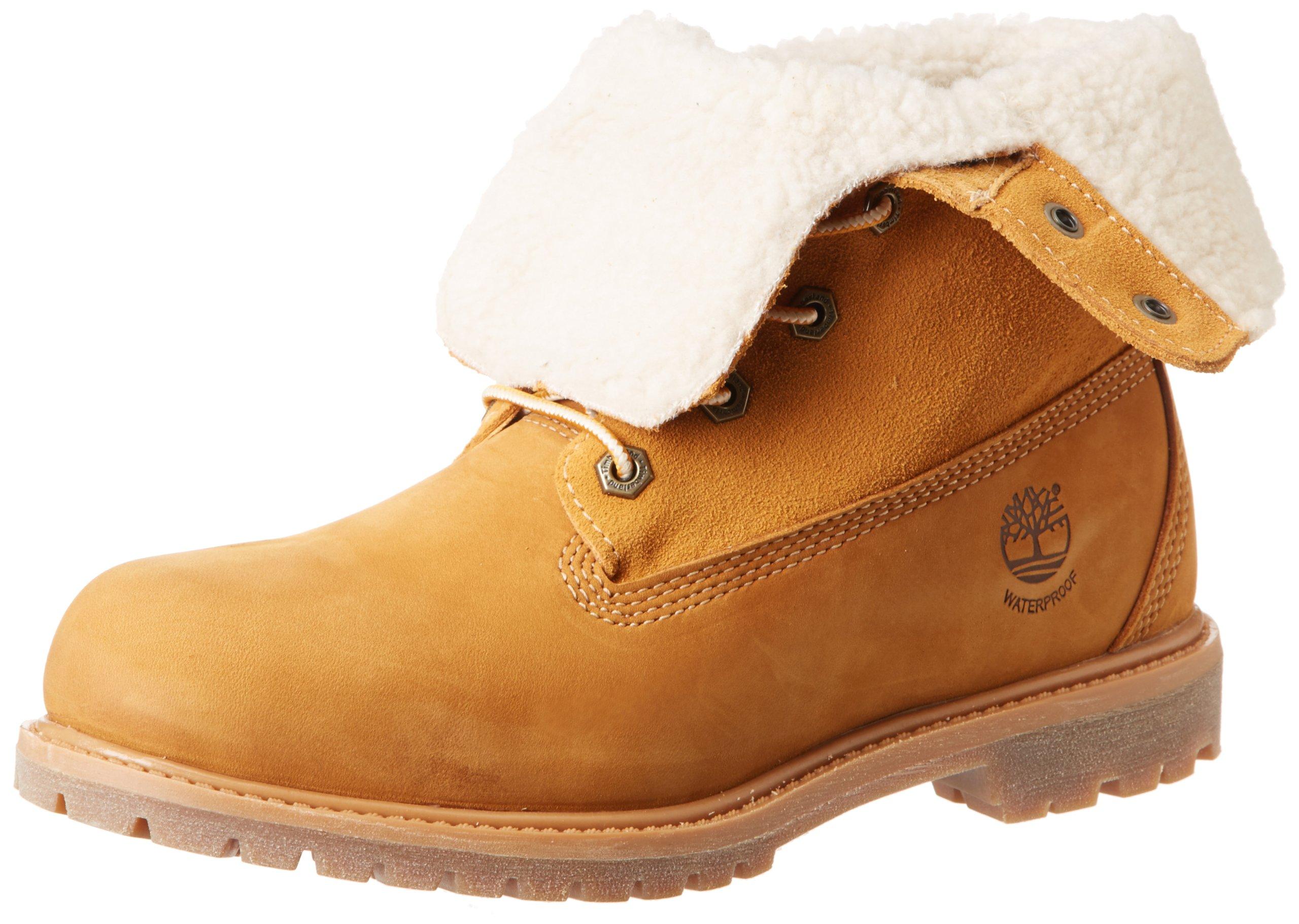 Timberland Women's Teddy Fleece Fold Down WP Boot,Wheat,8 M US