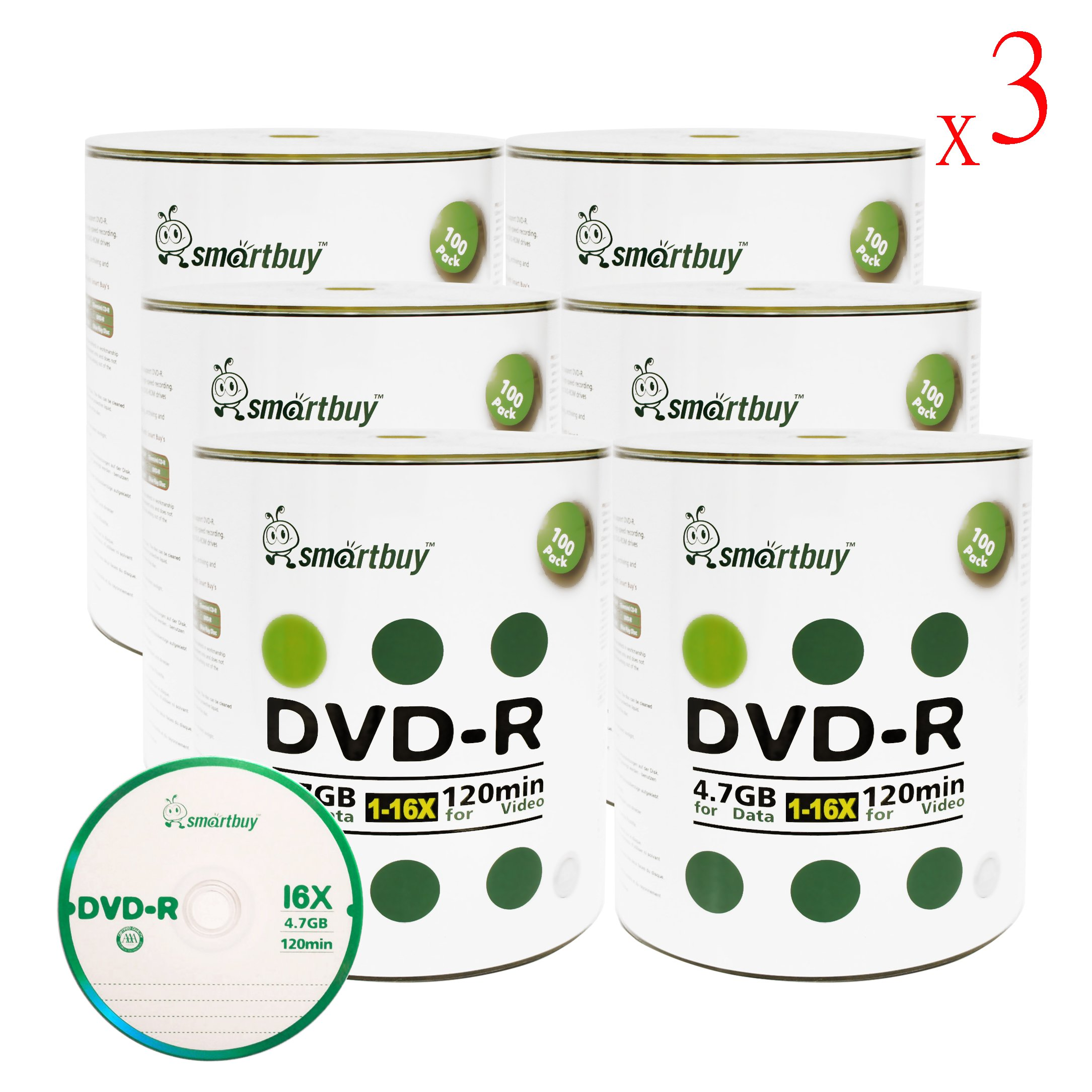 Smartbuy 1800-disc 4.7gb/120min 16x DVD-R Logo Top Blank Data Recordable Media Disc
