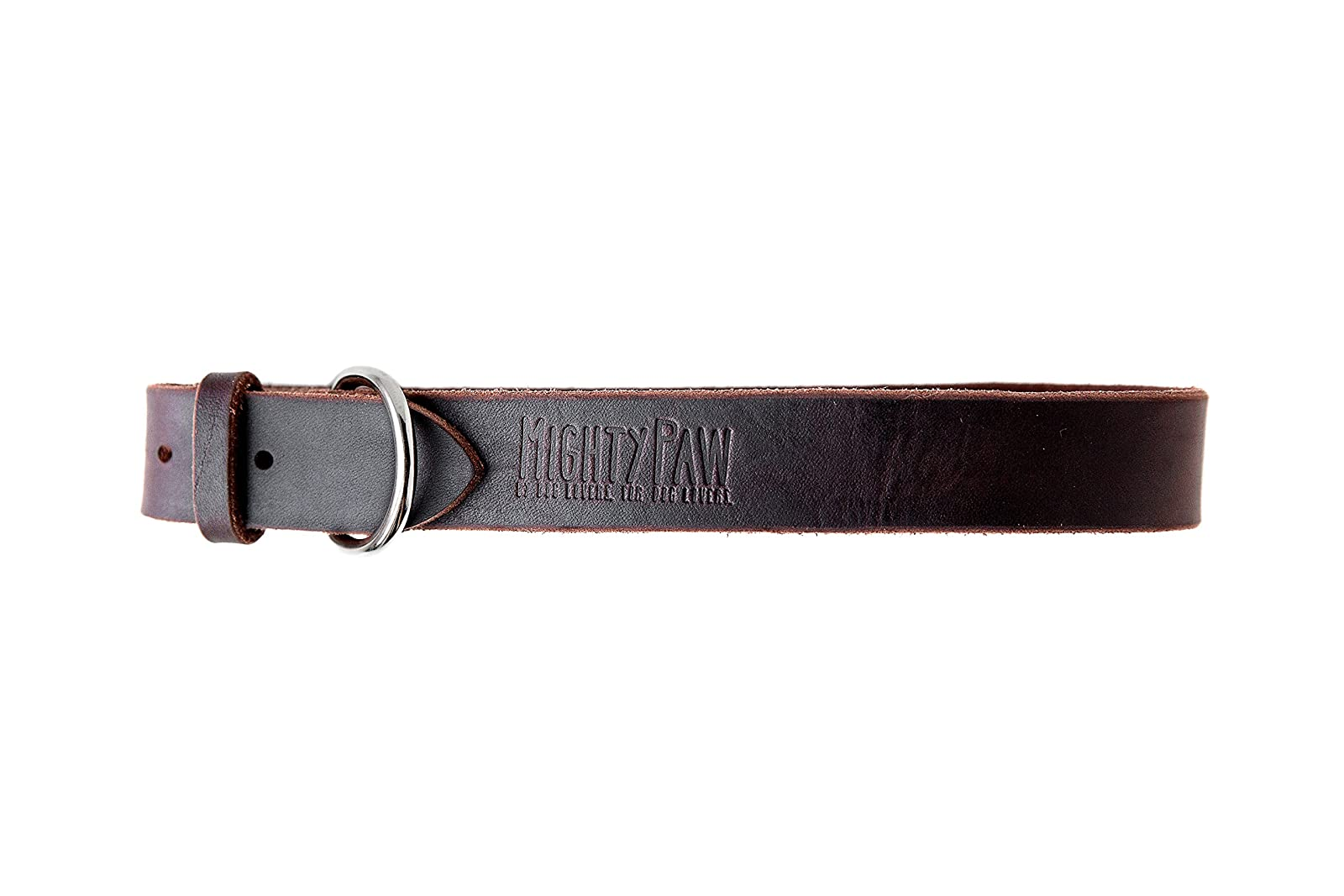 Mighty Paw Leather Dog Collar Super Soft Brown - 8