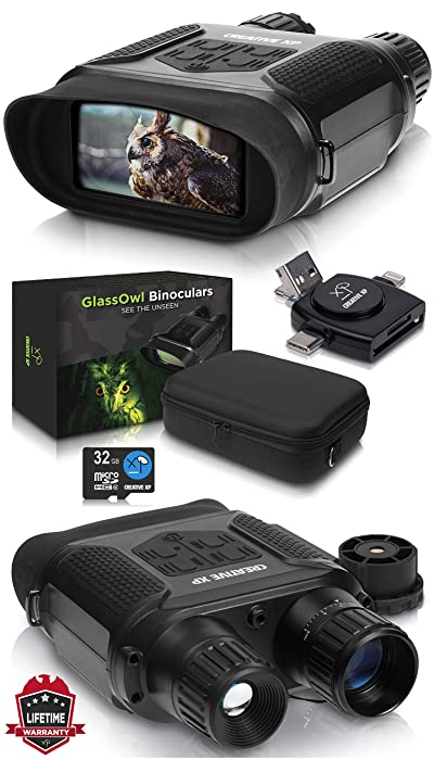 "CreativeXP Digital Night Vision Binoculars for 100% Darkness - Save Photos & Videos - 7x31 mm Infrared Spy Gear for Hunting & Surveillance - 4"" Large Screen & 1300ft Viewing Range"
