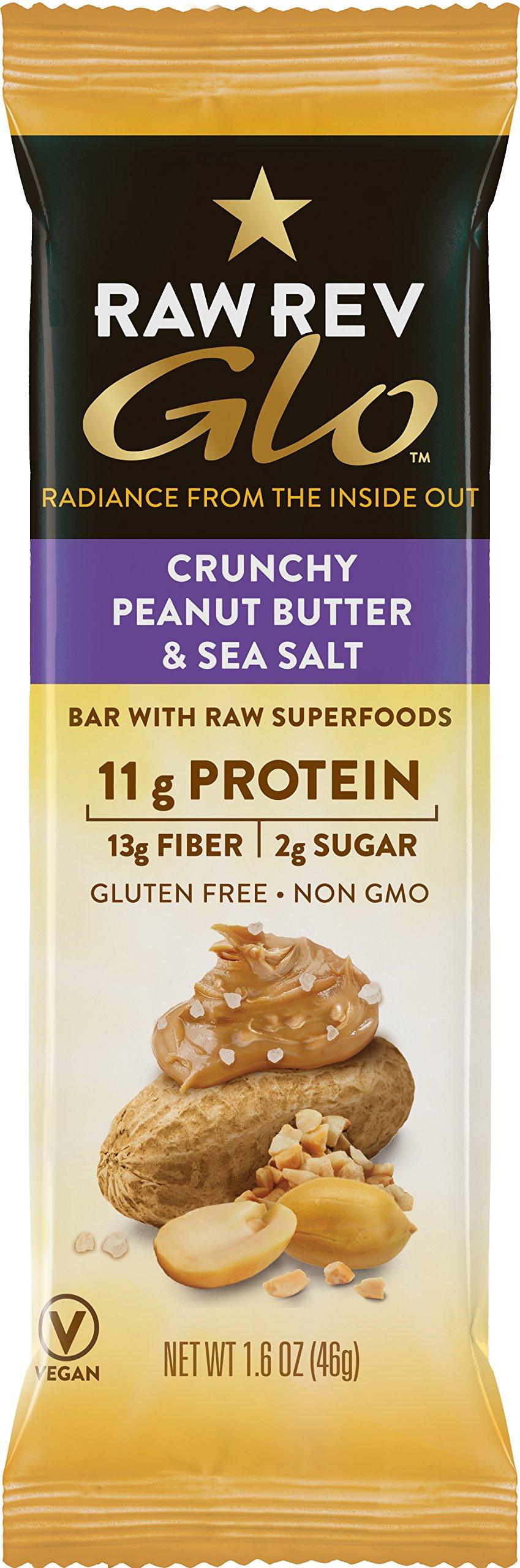 Raw Rev Glo Protein Bars Crunchy Peanut Butter & Sea Salt, 1.6 Ounce Bar