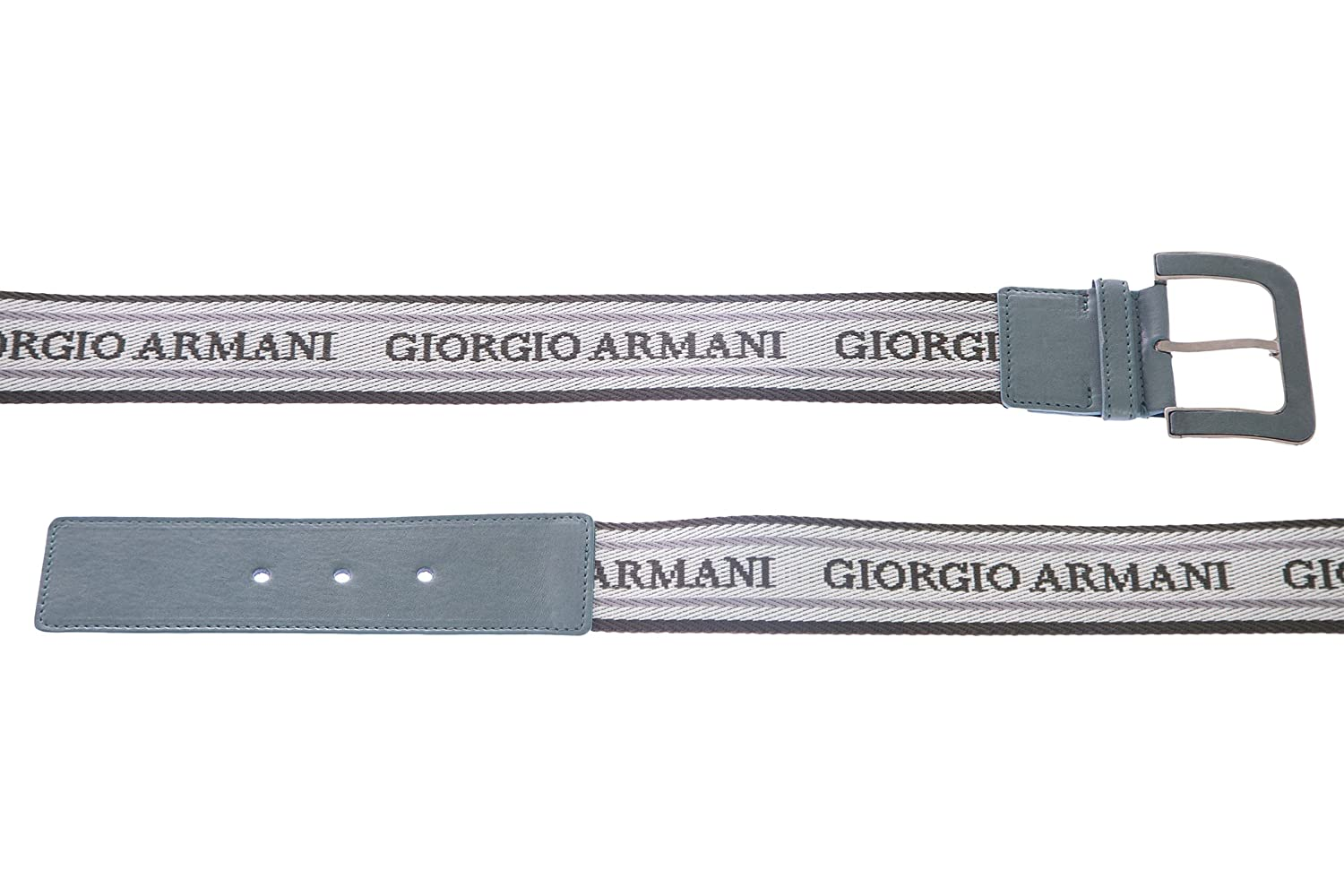 Giorgio Armani Women's Canvas Logo Jacquard Belt 40 (78cm) Green Multi