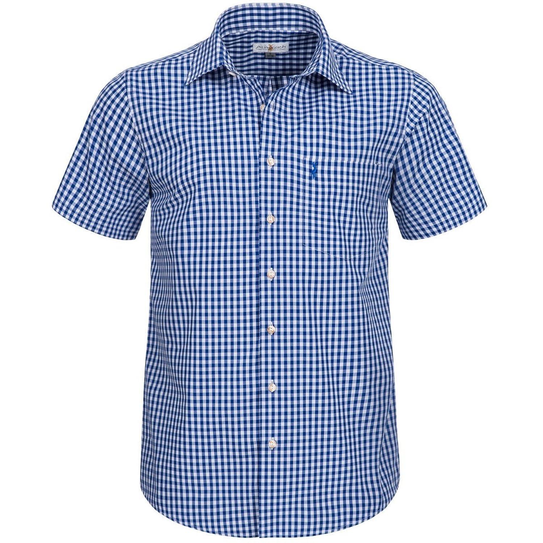 Kurzarm Trachtenhemd in Blau von Almsach
