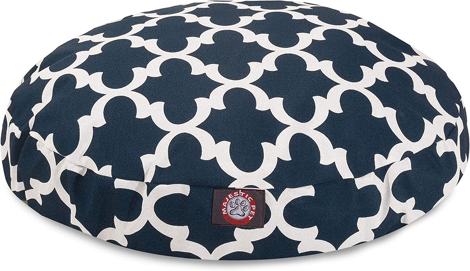 Navy Trellis Small Round Indoor Outdoor Pet Dog Bed With Removable Washable Cover By Majestic Pet Products