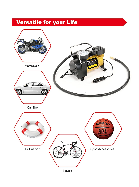 Portable Mini Air Compressor Pump 12v Electric Car Tire Kensun Wiring Diagram Inflator With Pressure Gauge Small Tanks 3 Foot Hose Universal