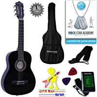 Acoustic Guitar Package 1/4 Sized (31' inch) Classical Nylon String Childs Guitar Pack Black