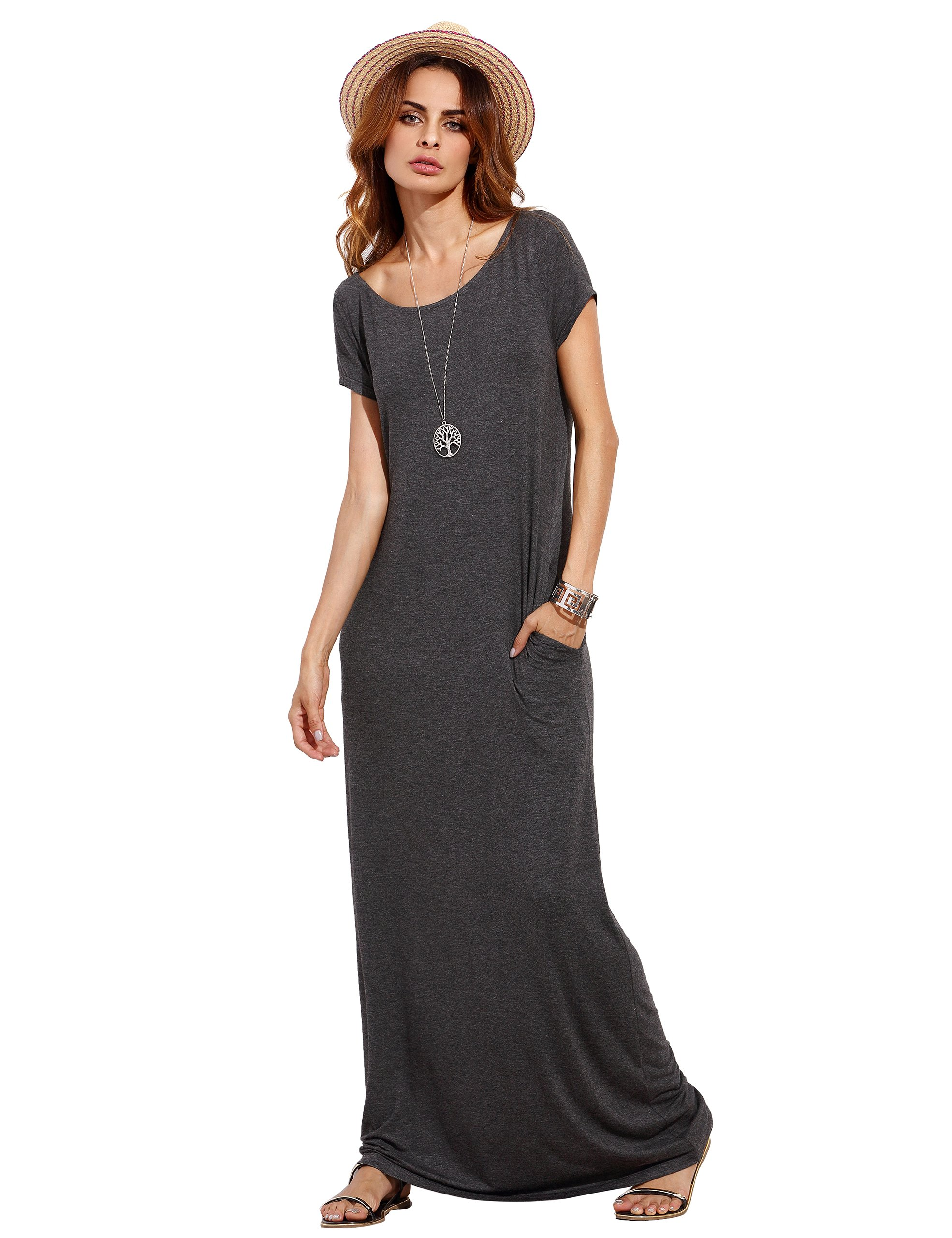 591c9a5ba376 Galleon - MakeMeChic Women s Short Sleeve Loose Casual Plain Long Maxi Dress  Grey L