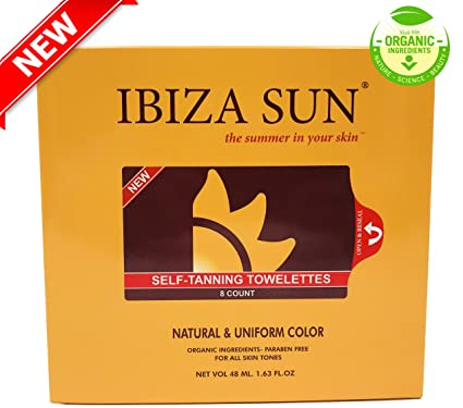 Ibiza Sun Toallitas Autobronceadoras Orgánicas y Naturales.Libres de Parabenos, apta para Veganos y