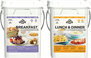 Augason Farms Breakfast Lunch and Dinner Pail Combo Survival Food Everyday Meals 17 Meal Varieties