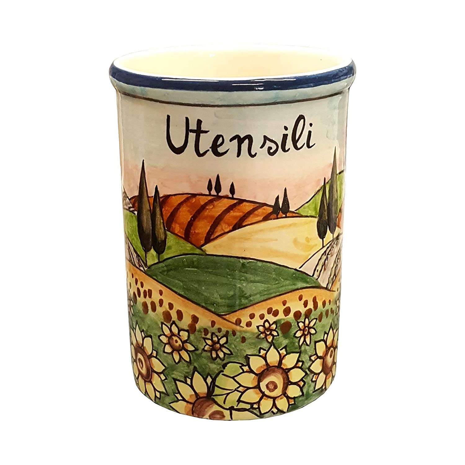 CERAMICHE D'ARTE PARRINI- Italian Ceramic Utensil Holder Vessel Hand Painted Decorated Tuscan Landscape Sunflower Made in ITALY Art Pottery