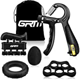 GRM Hand Grip Strengthener Counting Forearm Trainer Workout Kit, 11-132Lbs Adjustable Resistance Grip Strength Trainer, Finge