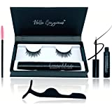 8D Magnetic Eyelashes with Eyeliner Kit Free Tweezers and Brush - Magnetic Lashes Set with Most Natural Look, Best Quality Eyelash Magnets, Reusable flase lash, Waterproof Liquid Magnetic Eye Liner
