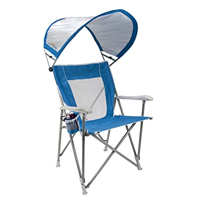 GCI Outdoor Waterside SunShade Folding Captain's Beach Chair with Adjustable SPF Canopy: Sports & Outdoors