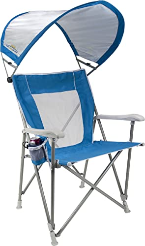 GCI Outdoor Waterside SunShade Folding Captain s Beach Chair with Adjustable SPF Canopy