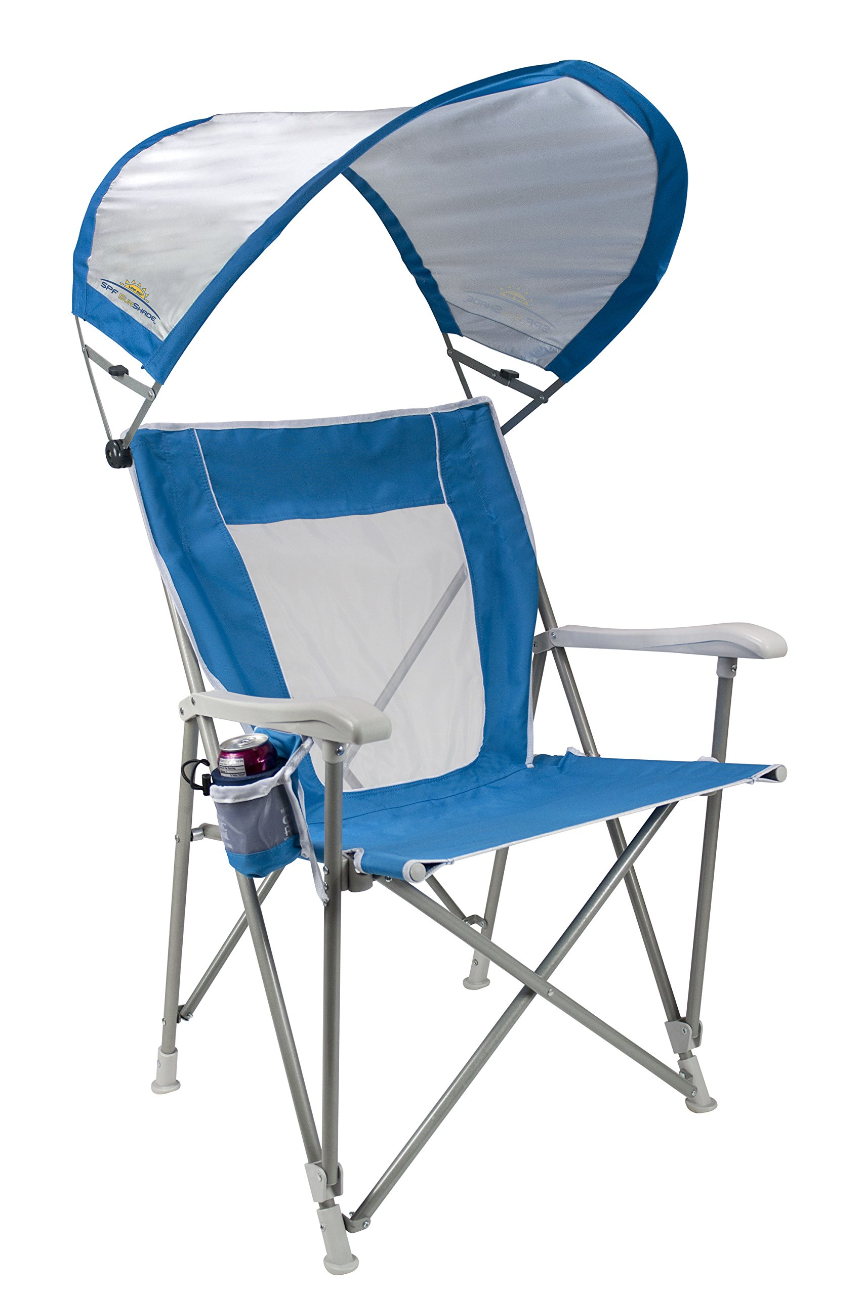 GCI Outdoor Waterside SunShade Folding Captain's Beach Chair with Adjustable SPF Canopy by GCI Outdoor