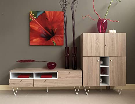 Curvasa - Mueble Comedor Salón Moderno Color Roble Sonoma Medidas 240 x 130 cm Apolo