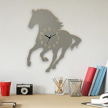 Yourlivingart Wanduhr Mustang-Grau, Pferd aus Holz ...
