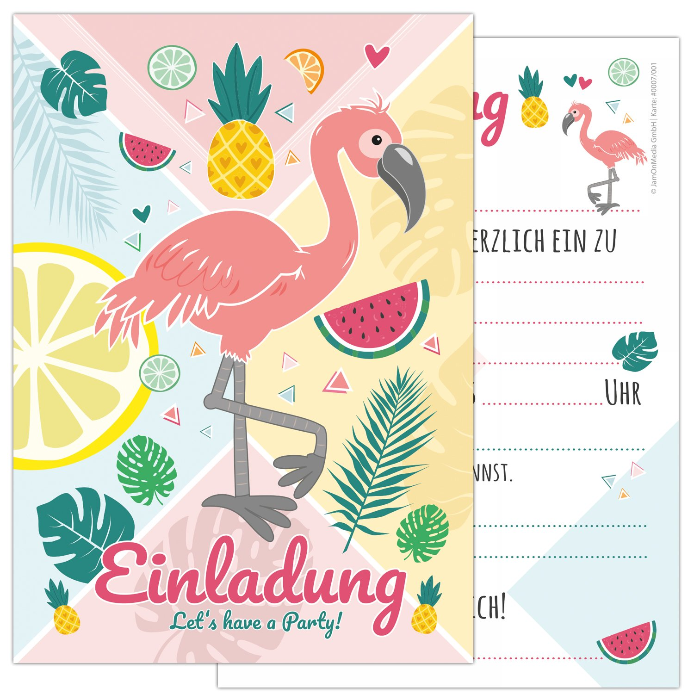 Tarjetas de 12 unidades Juego Flamingo con un Flamingo y Simpáticos Frutas en colores de verano, cumpleaños infantil de tarjetas de invitación para la ...