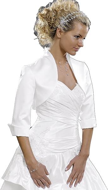 gef/üttert abgerundetes Revers Taft-Bolero zum Brautkleid 3//4 Arm oder Kurzarm zur Wahl ohne Kragen leichter Glanz